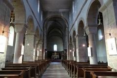 Ancienne collégiale Saint-Arbogast -  Alsace, Bas-Rhin, Surbourg, Abbatiale Saint-Jean-Baptiste (PA00085200, IA00119029): Vue intérieure de la nef vers le chœur.
