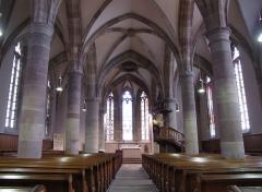 Eglise protestante Saint-Martin -  Alsace, Bas-Rhin, Westhoffen, Église protestante Saint-Martin (PA00085223, IA67006260): Vue intérieure de la nef vers le chœur.