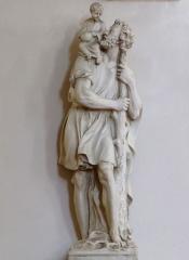 Eglise catholique Saint-Michel -  Alsace, Bas-Rhin, Weyersheim, Église Saint-Michel (PA00085235, IA00119652): Statue de St-Christophe et l'enfant Jésus.