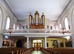 Eglise catholique Saint-Michel -  Alsace, Bas-Rhin, Weyersheim, Église Saint-Michel (PA00085235, IA00119652): Vue intérieure de la nef vers la tribune d'orgue.