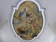 Eglise -  Alsace, Bas-Rhin, Willgottheim, Église Saint-Maurice (PA00085236, IA67001050): Fresque au plafond de la nef de René Kuder (XXe).