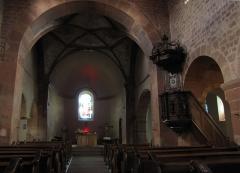 Eglise catholique Saint-Ulrich, ou église d'Altenstadt - Alsace, Bas-Rhin, Wissembourg, Église Saint-Ulrich d'Altenstadt (PA00085244, IA67008249): Vue intérieure de la nef vers le chœur.