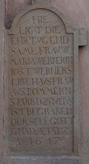 Eglise protestante Saint-Pierre - Français:   Alsace, Bas-Rhin, Wolfisheim, Église protestante Saint-Pierre (PA00085265, IA67008026): Pierre tombale (1647).
