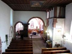 Eglise et cimetière de Balbronn -  Alsace, Bas-Rhin, Balbronn, Église protestante (PA00085276, IA67006522). Vue intérieure de la nef vers le chœur.