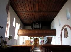 Eglise et cimetière de Balbronn -  Alsace, Bas-Rhin, Balbronn, Église protestante (PA00085276, IA67006522). Vue intérieure de la nef vers la tribune d'orgue.