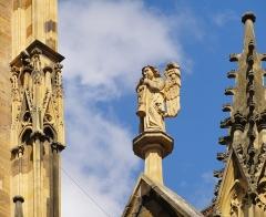 Ancienne collégiale Saint-Martin - Français:   Alsace, Haut-Rhin, Ancienne collégiale Saint-Martin (XIIIe-XIVe-XVe) de Colmar  (PA00085368): Ange musicien sur la façade sud.