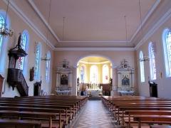 Eglise catholique Saints-Pierre-et-Paul - Français:   Alsace, Haut-Rhin, Église Saints-Pierre-et-Paul (XIIIe-XIXe) d\'Eguisheim (PA00085415,  IA68000505): Vue intérieure de la nef vers le chœur.