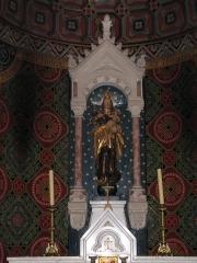 Eglise catholique Saint-Pantaléon - Alsace, Haut-Rhin, Église Saint-Pantaléon (XIIe-XIXe) de Gueberschwihr (PA00085433, IA68004163). Vierge à l'enfant (XVIIIe):    This object is indexed in the base Palissy, database of the French furniture patrimony of the French ministry of culture,under the referenceIM68007501. brezhoneg| català| Deutsch| English| español| français| italiano| magyar| македонски| Plattdüütsch| português| suomi| +/−