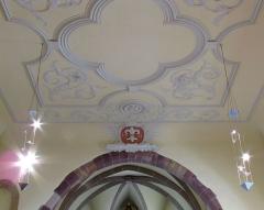 Eglise catholique Sainte-Colombe - Alsace, Haut-Rhin, Église Sainte-Colombe (XIIe-XVIIIe) de Hattstatt (PA00085456, IA68004258). Plafond stuqué, Armoiries des Hattstatt (1721).