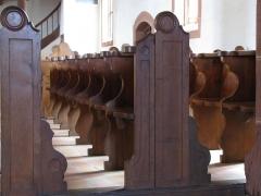 Eglise mixte Saint-Jacques-le-Majeur et son enceinte fortifiée - Français:   Alsace, Haut-Rhin, Église Saint-Jacques-le-Majeur (XVe-XVIe) de Hunawihr (PA00085463, IA68005952): Bancs et stalles.