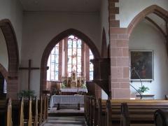 Eglise mixte Saint-Jacques-le-Majeur et son enceinte fortifiée - Français:   Alsace, Haut-Rhin, Église Saint-Jacques-le-Majeur (XVe-XVIe) de Hunawihr (PA00085463, IA68005952): Vue intérieure de la nef.
