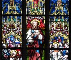 Eglise mixte Saint-Jacques-le-Majeur et son enceinte fortifiée - Français:   Alsace, Haut-Rhin, Église Saint-Jacques-le-Majeur (XVe-XVIe) de Hunawihr (PA00085463, IA68005952):Verrière \