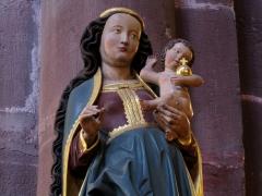 Eglise catholique de l'Invention de la Sainte-Croix - Français:   Alsace, Haut-Rhin, Église Sainte-Croix (XIIIe-XVe-XVIe) de Kaysersberg (PA00085477, IA68000563)  Statue de la Vierge à l\'enfant (XVIe):        This object is classé Monument Historique in the base Palissy, database of the French furniture patrimony of the French ministry of culture,under the referencesPM68000167 and IM68006840. беларуская (тарашкевіца)| brezhoneg| català| Deutsch| English| español| suomi| français| magyar| italiano| македонски| Plattdüütsch| português| українська| +/−