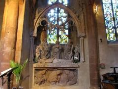 Eglise catholique de l'Invention de la Sainte-Croix - Alsace, Haut-Rhin, Église Sainte-Croix (XIIIe-XVe-XVIe) de Kaysersberg (PA00085477, IA68000563) Saint Sépulcre (XVe-XVIe):       This object is classé Monument Historique in the base Palissy, database of the French furniture patrimony of the French ministry of culture,under the referencesPM68000466 and IM68006815. беларуская (тарашкевіца)| brezhoneg| català| Deutsch| English| español| suomi| français| magyar| italiano| македонски| Plattdüütsch| português| українська| +/−