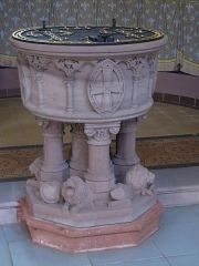 Eglise catholique Saint-Martin - Alsace, Haut-Rhin, Église Saint-Martin (XIIIe-XIXe) de Pfaffenheim (PA00085583, IA68004314): Fonts baptismaux.