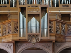 Ancienne église des Augustins, dite de la Providence - Alsace, Haut-Rhin, Ribeauvillé, Église du Couvent des Augustins (XIVe-XVe-XVIIIe), 3 rue de l'Abbé-Louis-Kremp. (PA00085586, IA68006914). Orgue de Curt Schwenkedel (1966).
