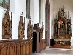 Ancienne église des Augustins, dite de la Providence - Alsace, Haut-Rhin, Ribeauvillé, Église du Couvent des Augustins (XIVe-XVe-XVIIIe), 3 rue de l'Abbé-Louis-Kremp. (PA00085586, IA68006914). Chemin de croix, confessionnal (XVIIIe):     This object is indexed in the base Palissy, database of the French furniture patrimony of the French ministry of culture,under the referenceIM68009407. brezhoneg| català| Deutsch| English| español| français| italiano| magyar| македонски| Plattdüütsch| português| suomi| +/−  Autel secondaire de la Vierge de Pitié (1880):
