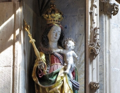 Eglise Saint-Arbogast, puis Notre-Dame de l'Assomption - Alsace, Haut-Rhin, Église Notre-Dame de l'Assomption de Rouffach (PA00085638, IA68004432). Statue de la Vierge à l'enfant (XVIe):       This object is classé Monument Historique in the base Palissy, database of the French furniture patrimony of the French ministry of culture, under the references PM68000782 and IM68007732. brezhoneg | català | Deutsch | English | español | français | italiano | magyar | македонски | Plattdüütsch | português | suomi | +/−