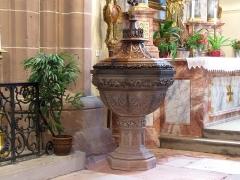 Eglise catholique Saint-Hippolyte - Français:   Alsace, Haut-Rhin, Église Saint-Hippolyte de Saint-Hippolyte (PA00085661, IA68005984): Fonts baptismaux.
