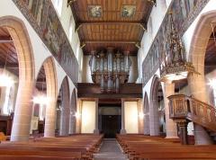 Eglise catholique Saint-Hippolyte - Alsace, Haut-Rhin, Église Saint-Hippolyte de Saint-Hippolyte (PA00085661, IA68005984): Vue intérieure de la nef vers la tribune d'orgue.