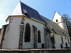 Eglise Saint-Pierre-sur-l'Hâte - Français:   Alsace, Haut-Rhin, Sainte-Marie-aux-Mines, Église Saint-Pierre-sur-l\'Hâte (XVIe-XVIIe), chemin Saint-Pierre-sur-l\'Hâte         This building is inscrit au titre des monuments historiques de la France. It is indexed in the base Mérimée, a database of architectural heritage maintained by the French Ministry of Culture,under the references PA00085664   and IA68007568 .  беларуская (тарашкевіца)  বাংলা  brezhoneg  català  Deutsch  Ελληνικά  English  Esperanto  español  euskara  suomi  français  magyar  italiano  日本語  македонски  Nederlands  português  português do Brasil  română  русский  sicilianu  svenska  українська  العربيَّة  +/−