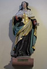 Eglise catholique Sainte-Anne - Alsace, Haut-Rhin, Église Sainte-Anne de Turckheim (PA00085709, IA68003621). Statue de Sainte-Richarde (XVIIIe):     This object is indexed in the base Palissy, database of the French furniture patrimony of the French ministry of culture,under the referenceIM68005644. беларуская (тарашкевіца)| brezhoneg| català| Deutsch| English| español| suomi| français| magyar| italiano| македонски| Plattdüütsch| português| українська| +/−