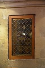 Ancien hôtel des ducs de Bourgogne : Tour de Jean Sans Peur - English: Stained glass, emblem of Jean-sans-Peur, in Jean-sans-Peur Tower (1411), Paris, France.