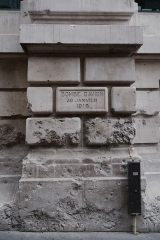 Immeuble du Crédit Lyonnais (siège) - English: Crédit Lyonnais headquaters, Paris 2nd arrondissement. Bomb impact on wall, 15 rue de Choiseul.
