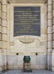 Ancienne abbaye Saint-Martin-des-Champs, actuellement Conservatoire National des Arts et Métiers et Musée National des Techniques - Français:   Plaque, mascaron et grille de la fontaine du Vertbois, Paris, 3e, France.