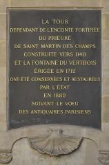 Ancienne abbaye Saint-Martin-des-Champs, actuellement Conservatoire National des Arts et Métiers et Musée National des Techniques - Français:   Tableau de la fontaine du Vertbois située à l\'angle des rues du Verbois et Saint-Martin dans le 3e arrondissement de Paris. Édifiée en 1712 par l\'architecte Jean-Baptiste Bullet de Chamblain.