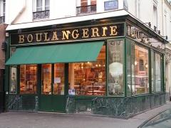 Boulangerie - Français:   Devanture de boulangerie en Verre églomisé rue de la Roquette à Paris.