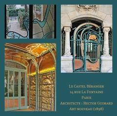 Immeuble dit Castel Béranger -   Le Castel Béranger, Paris — est un immeuble de rapport de trente-six appartements situé 14, rue La-Fontaine dans le 16e arrondissement de Paris. Il a été conçu par l\'architecte Hector Guimard. Sa construction a lieu à partir de 1895 jusqu\'en 1898. C\'est un chef d\'oeuvre d\'art nouveau français.  Hector Guimard y applique un principe fondamental de l'Art nouveau: celui de l'unité complète de l'œuvre. Il est également, et comme à son habitude, l\'auteur du second-œuvre et de la décoration intérieure (sols, menuiserie, serrurerie, vitrerie et vitrail, peinture, tapisserie et papier-peint) mais aussi du mobilier. On retrouve à l\'extérieur plusieurs thèmes chers à l\'auteur: le bow-window, la loggia, le balcon et la ferronnerie ouvragée. L'immeuble est primé au 1er concours de façades de la Ville de Paris en 1898, et marque le début de la renommée de l\'architecte. l\'album des photos du Castel Béranger (extérieur et intérieur): www.flickr.com/photos/dalbera/sets... Références (le cercle Guimard):  www.lecercleguimard.com