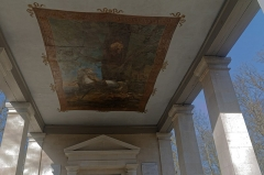 Chapelle Notre-Dame-de-Bon-Secours - English:  During the reconstruction in 1821, the ceiling of the chapel Our Lady of the Good Help chapel is decorated with a canvas of Merry-Joseph Blondel representing the divine intervention of the Virgin.
