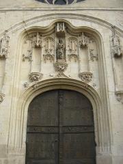 Eglise Notre-Dame - Français:   Collégiale Notre-Dame à Melun — détail de la porte principale de la façade ouest