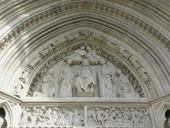 Eglise Saint-Eliphe - Français:   Linteau et tympan du portail occidental de l'église Saint-Éliphe de Rampillon (77).