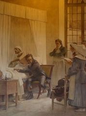 Sorbonne (La) - Péristyle de La Sorbonne, Paris (75005). Peinture murale. Laennec.
