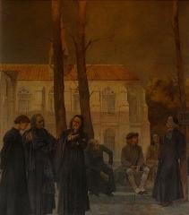 Sorbonne (La) - Péristyle de La Sorbonne, Paris (75005). Peinture murale. Rollin.