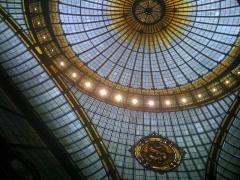 Immeuble de la Société Générale - English: Société Générale Headquarters, Paris IXe arrondissement, France. Part of the stained glass dome.
