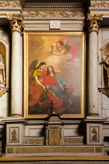 Eglise Saint-Sauveur - English:  Painting of the altarpiece of the chapel of the Holy Family in the basilica of the Holy Savior in Dinan (France)