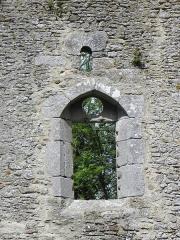 Ancienne église Saint-André - Ancienne église de Saint-André-des-Eaux (22). Vue extérieure de la fenêtre gothique de la costale sud du chœur et restes de la fenêtre romane originelle.
