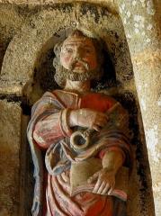 Eglise Notre-Dame de la Merci - Porche sud de l'église Notre-Dame-de-la-Merci de Trémel (22). Apôtre. Saint-Pierre.