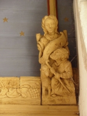 Eglise Notre-Dame - Blochet de l'église Notre-Dame de Bodilis (29). Annonce de la Nativité à un berger.