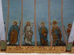 Eglise Sainte-Nonne et Saint-Divy - Voûtes peintes de l'église Sainte-Nonne de Dirinon. Costale nord de la nef. Peintre: Jean Louis Nicolas. Travail exécuté entre 1856 et 1858. Saint-Christophe, Saint-Sauveur, Saint-Pierre (??) et Saint-Claude.