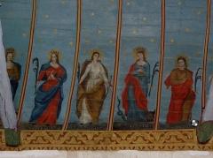 Eglise Sainte-Nonne et Saint-Divy - Voûtes peintes de l'église Sainte-Nonne de Dirinon. Costale sud de la nef. Peintre: Jean Louis Nicolas. Travail exécuté entre 1856 et 1858. Sainte-Jeanne-de-France, Sainte-Catherine-d'Alexandrie, Sainte-Marguerite-d'Antioche et Sainte-Agathe.