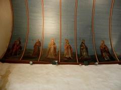 Eglise Sainte-Nonne et Saint-Divy - Voûtes peintes de l'église Sainte-Nonne de Dirinon. Transept sud, costale ouest. Peintre: Jean Louis Nicolas. Travail exécuté entre 1856 et 1858. Saint-Henri, Saint-Bernard, Saint-Grégoire, Saint-Athanase, Saint-Augustin et Saint-Ambroise.