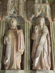 Eglise Notre-Dame de Rumengol - Français:   Collège apostolique du porche sud de l\'église Notre-Dame-de-Rumengol au Faou (29). Saint-? et Saint-Jean.
