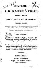 Maison - Español: Compendio de matemáticas puras y mistas - Tercera ed. - Tomo primero