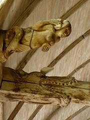 Chapelle de Notre-Dame-de-la-Joie - Français:   Chapelle Notre-Dame-de-la-Joie de Penmarc\'h (29). Blochet et poutre à engoulants.