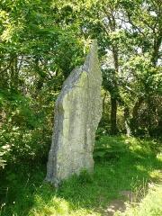 Trois menhirs de Kerfland et bande de terrain autour - Français:   Troisième menhir de l\'alignement de Kerfland en Plomeur, Finistère, Bretagne, France.