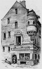 Maison prébendale - Français:   Maison ancienne à Saint-Pol-de-Léon (lithographie d\'Albert Robida publiée dans \